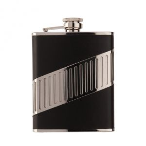 Alcohol flask Crome Black Leather