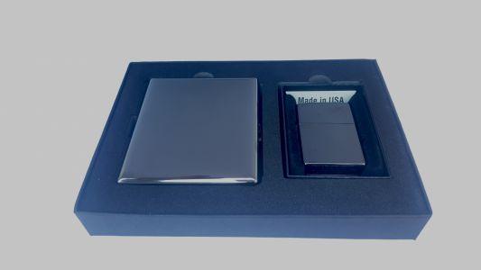Zippo Gift Set EBONY (Bricheta si Tabachera Gunmetal)